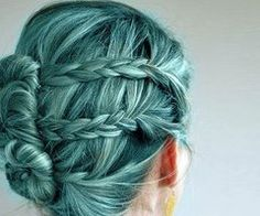 My next highlight. Ash  with teal. LOVE!Braids and Buns...and then the teal. Its like mermaid hair.