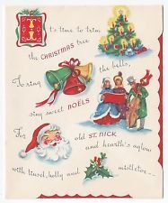 Vintage Greeting Card Christmas Carolers Santa Tree Family Inside