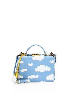 Mark Cross Grace Box Small Cloud Leather Crosbody bag - Cloud
