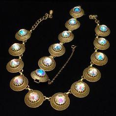 Signed Vendome Necklace Earrings Set Vintage Aurora Borealis Large Stones | eBay