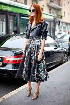 Taylor Tomasi Hill in a Patricia Viera Floral leather dress #StreetStyle