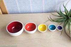 Mini Nesting Bowls by RELM Studios. American Made. See the designer's work at the 2016 American Made Show, Washington DC. January 15-17, 2016. americanmadeshow.com #americanmadeshow, #americanmade, #pottery, #ceramics, #bowls, #nestingbowls Nesting Bowls, Stoneware Clay, American Made, Safe Food, Color Pop, The Creator, Pottery, January 15, Hand Painted