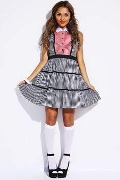 #1015store.com #fashion #style black/red gingham A line party dress-$20.00