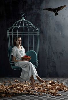 Hanging Chair in Large Birdcage Shape   Cageling image