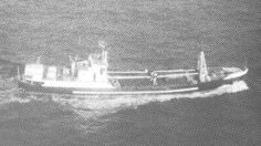 Yhe US Coast Guard Cutter Rush engaged and sunk this trawler, 1970....