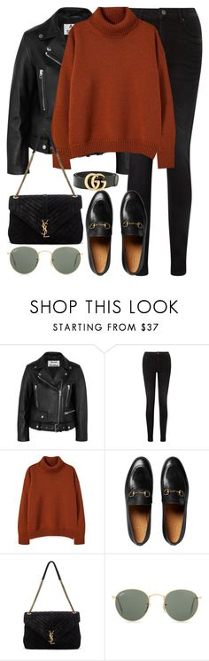 """""""Untitled #3218"""" by elenaday on Polyvore featuring Acne Studios, Pieces, Gucci, Yves Saint Laurent and Ray-Ban"""