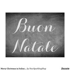 Merry #Christmas in #Italian Chalkboard Typography #Card