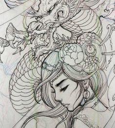 Tattoo of geisha and dragon – Irezumi / Japan Tattoo, dragon, drawing, Geisha,. Geisha Tattoos, Geisha Tattoo Design, Irezumi Tattoos, Geisha Tattoo Sleeve, Japanese Dragon Tattoos, Japanese Tattoo Art, Japanese Tattoo Designs, Geisha Kunst, Geisha Art