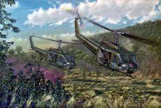 US Huey helicopters landing with reinforcements, Vietnam War
