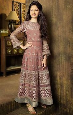 DesignersAndYou Order Now Peach Diamond Worked Matching #AnarkaliDress For Mother N Daughter Online. Worked Cuffs, Diamonds, Embroidery, Cutwork & Contrast Hemline Adds Charm. This Long Floor Length Net Frock Suit Comprises Crew Neck And Trendy Sleeves.