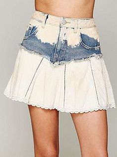 Free People Mississippi Denim Swing Skirt at Free People Clothing Boutique