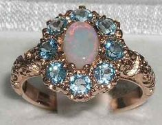 14K Solid English Rose Gold Natural Genuine Opal & Blue Topaz Cluster Flower Anniversary Ring - October, March Birthstone - Customizable by GemsofLondon on Etsy https://www.etsy.com/listing/229978494/14k-solid-english-rose-gold-natural