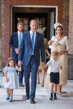 See the Royal Family of 5! Will, Kate, George and Charlotte Arrive at Prince Louis' Christening
