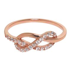 Express your commitment while displaying sophisticated style when you wear this stunning ring. 14k rose gold plating creates a warm, beautiful appearance. Pave-set white gemstones provide a brilliant