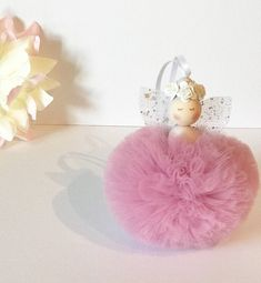 Image of Dusky pink pom pom fairy, fairy decor, New Baby Gift, Baby Shower Gift Fairy Baby Showers, Craft Stalls, Pom Pom Crafts, Baby Tutu, Custom Dolls, New Baby Gifts, Bead Crafts, Nursery Decor, Baby Shower Gifts