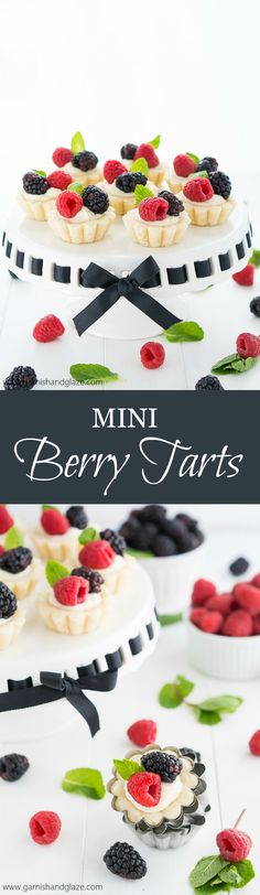 Mini Berry Tarts are perfectly portioned tarts with a tender crust, sweet creamy filling, and topped with beautiful fresh berries. #summer #desserts