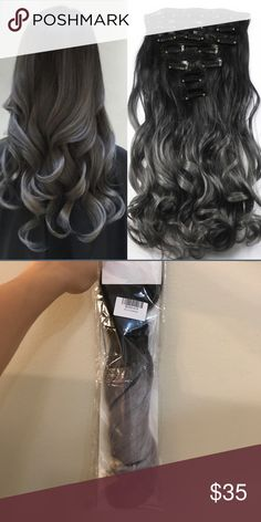 "Hair piece synthetic ombré wig 20"" long curly wave woman 7pcs set clip in hair extension highlight synthetic ombré wig gradient color hair piece Other"