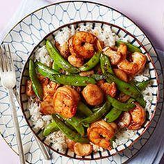 Shrimp & Snap Pea Stir-Fry (Rachael Ray) @keyingredient #vegetables #shrimp