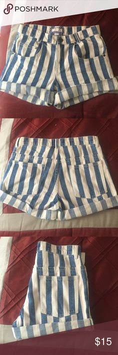Stripped shorts Blue and white stripped. Only worn once! Perfect condition. Super cute! Shorts Jean Shorts