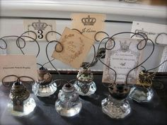 Vintage door knobs holders for table numbers, place cards or escort cards