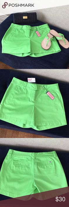 "🐳SALE🐳Vineyard Vines 5"" Green Shorts  NWT Cute shorts in fun parrot green color! Never worn, New with tags. Lilly Pulitzer sandals and J Crew clutch also available from my closet! Was $30 now $26 Vineyard Vines Shorts"