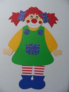 Süßes Clown Mädchen aus Fotokarton  und natürlich doppelseitig gearbeitet.Super groß 48 cm hoch. Leider ist das Porto halt mit 3,45 sehr teuer, abe...