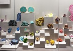 A rainbow of mineral samples at the Smithsonian Natural History Museum. #GemstoneJune