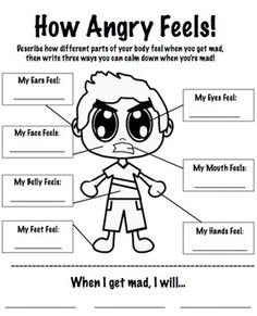 A worksheet to help students identify how their bodies feel when they are angry. Also provides space for them to list three ways that they can handle their anger. Great for anger management groups or individual lessons!