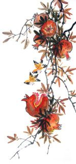 Chinese Pomegranate Painting,48cm x 96cm,2612003-x