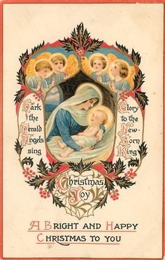 Christmas Nativity, Christmas Music, Winter Christmas, Christmas Time, Vintage Christmas Images, Vintage Holiday, Victorian Christmas, Vintage Holy Cards, Vintage Postcards