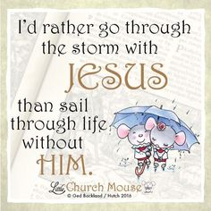 I'd rather go through the storm with Jesus than sail through life without him. ~ Little Church Mouse