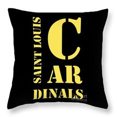 "Saint Louis Cardinals Typography Throw Pillow by Pablo Franchi.  Our throw pillows are made from 100% spun polyester poplin fabric and add a stylish statement to any room.  Pillows are available in sizes from 14"" x 14"" up to 26"" x 26"".  Each pillow is printed on both sides (same image) and includes a concealed zipper and removable insert (if selected) for easy cleaning."