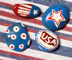 Make Patriotic Tablecloth Weights - what a great idea!
