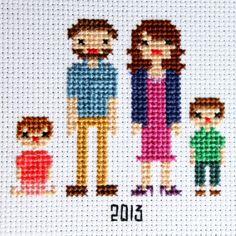 Cross Stitch up a family portrait! Free Patterns!