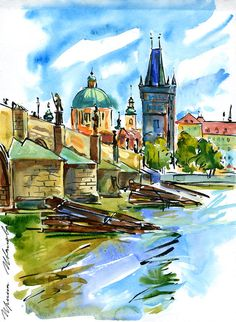 Pen Sketch, Sketches, Prague Charles Bridge, Czech Republic, Land Scape, Paths, Travel Trip, Contemporary Art, Mansions