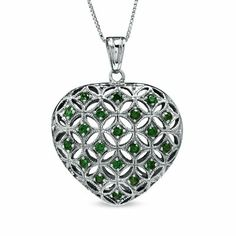 "Lab-Created Emerald Puffed Heart Pendant Necklace in Sterling Silver with 18"" Silver Chain - Fashion Jewelry"