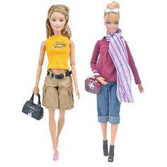 9ea81c1387f Amazon.com  E-TING 2 Set Fashion Doll Clothes Casual Wear T-Shirt Pants  Trousers Denim Mini Skirt Handbag Shoes for Barbie Dolls  Toys   Games