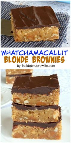 Caramel, peanuts, and chocolate give these blonde brownies a Whatchamacallit candy bar taste.:
