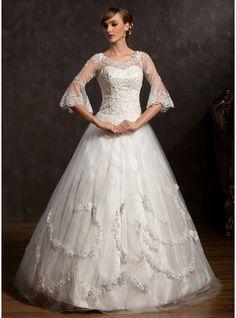Corte de baile Escote en V Hasta el suelo Tul Vestido de novia con Encaje Bordado