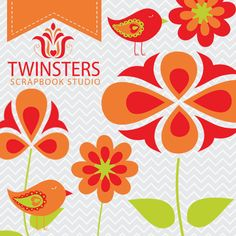 Redorange flowers png digital clipartTW007  INSTANT by Twinsters, $5.00