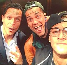 Dani Alves posted this image on social media, the defender posing with fellow Brazilians Adriano (left) and Neymar (right)