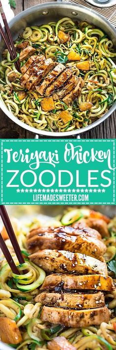 One Teriyaki Chicken Zoodles {Zucchini Noodles} and easy low-carb weeknight meal made with tender chicken and sweet pineapples over a...