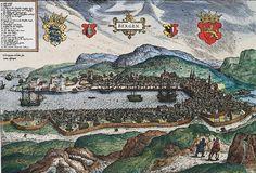 Fra 1537 til 1814 var Norge i stor grad underlagt dansk styre. Denne perioden i Norges historie regnes fra reformasjonen og underordningen under Danmark i 1537 og slutter med selvstendigheten i 1814. Under unionstiden med Danmark, da København var landets hovedstad, var Bergen Norges største by. Denne posisjonen, som bygde på livlig handelsvirksomhet, beholdt byen til 1830-årene. Bildet er et kobberstikk, og viser hvordan byen så ut ca.1580. av Hieronymus Scholeus. Falt i det fri