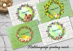Easter greeting card BUNDLE multilanguage postcard holiday   Etsy Birthday Party Decorations, Tree Decorations, Birthday Parties, Wedding Fingerprint Tree, Gift Drawing, Easter Greeting Cards, Happy Easter, Bridal Shower, Language