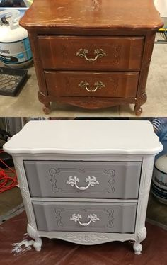 Found this nightstand for super cheap sanded it down lightly and added some Kilz paint. What a gem! Found this nightstand for super cheap sanded it down lightly and added some Kilz paint. What a gem! Refurbished Furniture, Paint Furniture, Repurposed Furniture, Shabby Chic Furniture, Furniture Projects, Furniture Design, Diy Furniture Renovation, Furniture Makeover, Furniture Restoration