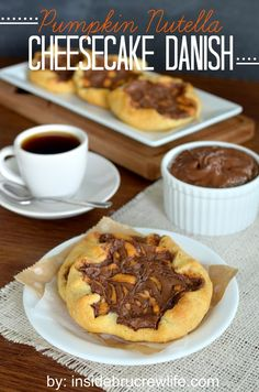 Pumpkin Nutella Cheesecake Danish - pumpkin cheesecake, Nutella, and Pillsbury crescent rolls are a match made in heaven http://www.insidebr...