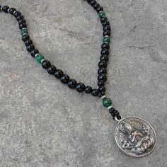 Buddha, Genuine onyx malachite gemstone necklace with Buddha pendant by #lovepray #jewelry