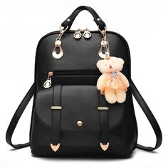 fefd2915320d 2017 New Women Leather Backpacks Bolsas Mochila Feminina Large Girls  Schoolbag Travel Bag Solid Candy Color Femme Sac A dos