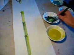 Educational Video - Painting/Calligraphy - Bambbo with flathead brush. Japanese Painting, Chinese Painting, Japanese Art, Chinese Brush, Chinese Art, Chinese Scroll, Learn To Paint, Learn Painting, Chinese Bamboo