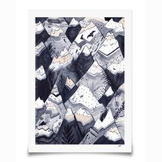 Mountains // A3 Print by SandraDieckmann on Etsy